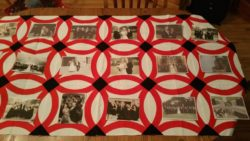 Double Wedding Ring Quilt with family photos
